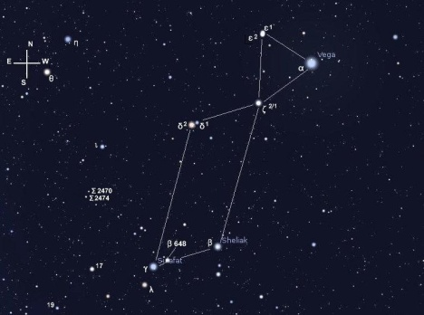 The Lyre of Lyra. Stellarium screen image with labels added, click on the image for a larger view.