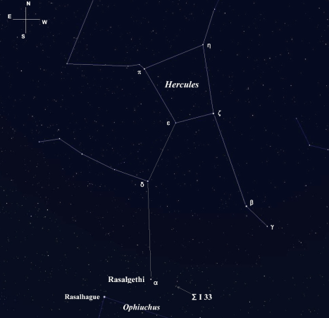 Rasalgethi with Rasalhague to its southeast. Click on the image for a larger view. (Screen image from Stellarium with labels added)