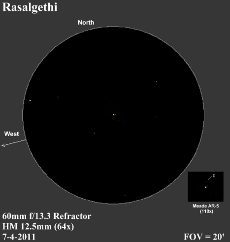 """Rasalgethi """"A"""" and """"B"""" are shown at the center of the sketch as seen in a 60mm scope with a .965 inch eyepiece. The elusive """"D"""" component is included in the inset at the lower right. East and west reversed to match the refractor views. Turn out the lights for the full effect! (Click to enlarge the sketch)"""
