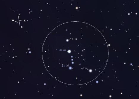 Image as seen in the eyepiece of the AT111 at 56x - note that east and west are reversed. (Stellarium screen image with labels added)