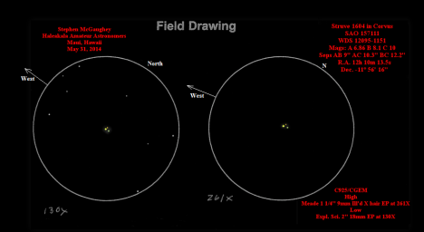 This is a much better sketch of STF 1604 and gives you a better idea of the colors and relative brightness of the three stars.   Thanks to the honorable Steve McGee for the use of the sketch!  (East & west reversed once again).