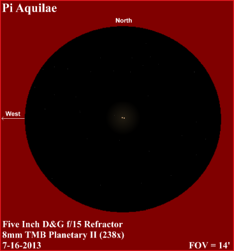 And here's another view in a five inch refractor, only this time at higher magnification and a longer focal length.  (East & west reversed, click for a larger view).