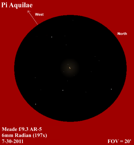 A slice of visual Pi (π) to aid in conjuring up a mental image of what the view was like. (East and west reversed to match the refractor view, click for a much better view)