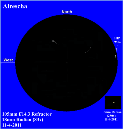 """That eyepiece had the honor of revealing a startling northwest to southeast leaning line of eighth magnitude stars, which are evenly spaced and strewn across the northern fringes of the primary.""  (East & west reversed to match the refractor image, click to lose this caption)"