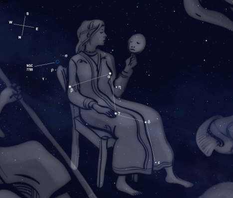 Sigma (σ) can be seen here to the southwest of Beta (β), just above the back of the Queen's chair.  (Stellarium screen image with labels added, click for a larger view).
