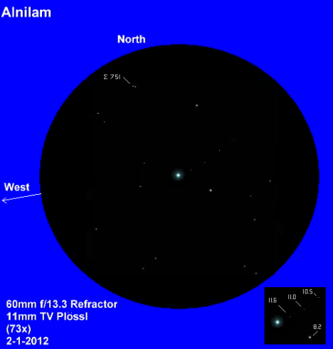 The magnitudes of the three faint stars to the northeast of the primary, which are discussed here, are shown in the inset at the lower right, and a bonus binary -- Σ 751 -- is visible at the north edge of the field of view. (East & west reversed to match the refractor view, click on the image and you'll lose this caption!).