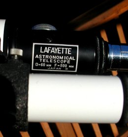 The focuser end of a Lafayette f/13.3 60mm refractor.