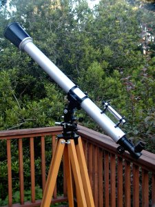 My f/16.7 60mm refractor crafted with a 1000mm focal length Carton lens and a rescued Unitron finder.  (Click on this or any of the other images for a larger view).