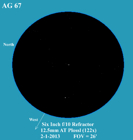 AG 67 is the cluster of three stars at the center of the field, and in the west corner (at the bottom) is HIP 16186 with a pair of fainter non-related friends.  (East & west reversed, click for a larger view).