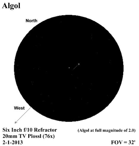 "Lots of faint stars near Algol, but the only visible companion was 10.5 magnitude ""D"". (East & west reversed to match the telescope view, click for a better view)."