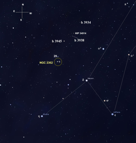 As you can see, we don't have far to go.  In fact, with the Winter Albireo centered in your finder, our next star is easy to spot.  Look for two stars of similar brightness about a degree to the northwest – the first is our next target, h 3938, and slightly beyond it in the same direction is 5.95 magnitude HIP 34914.  (Stellarium screen image with labels added, click for a larger view).