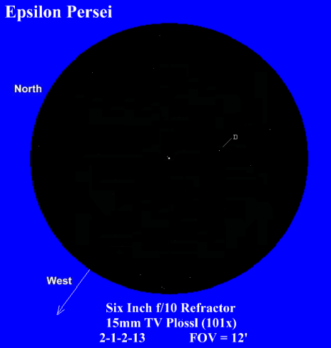 With six magnitudes of difference between them, you have to look closely to see the 8.9 magnitude secondary nestled up closely to the 2.9 magnitude primary, but once you have it, it's an absolutely beautiful sight.  (East & west reversed, click for a larger view).