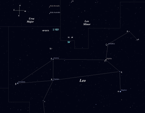 Let's reach for the zenith tonight and see what kind of neck-aching beauty we can coax from the north Leonine shores.  One of our two gems hugs the border of the little lion, aka Leo Minor, and the other is just about a wide-field eyepiece view from being scooped up by Ursa Major.  (Stellarium screen image with labels added, click on the chart for a larger view).