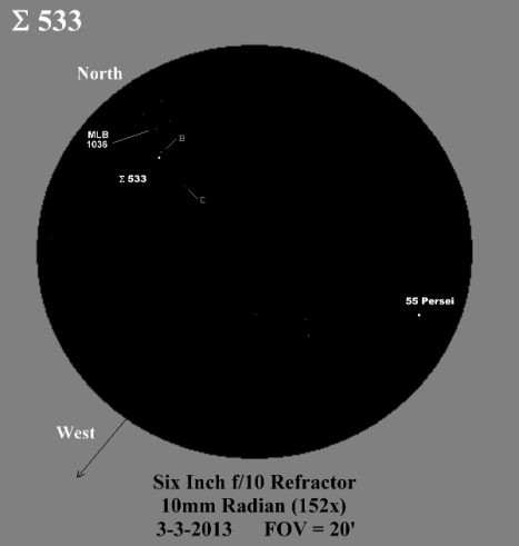 I placed Σ 533 and MLB 1036 at the north edge of this sketch in order to include 55 Persei in it as a point of reference.  MLB 1036 is at the southwest corner of the faint rectangle of stars north of Σ 533.  (East & west reversed to match the refractor view, click for a closer view).