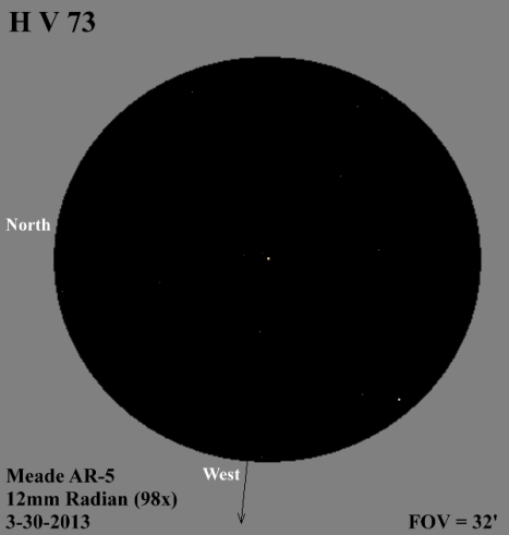 """B"" was difficult to see in the five inch refractor I used for this sketch, but it was much more obvious when I went back a few nights later and looked at it with my six inch f/10 refractor.  (East & west reversed to match the refractor view)."