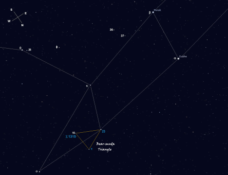 The three stars for this session will all fit very comfortably in the five degree field of view of the typical 8x50 or 9x50 finder, a fact which I discovered only after locating my first target, Tau (τ) Ursae Majoris, which is nailed to the north corner of the triangle shown in gold. 16 Ursae Majoris occupies the south corner of the triangle, with Σ 1315 just inside its north side, and 23 UMa is parked at the east edge. Tau (τ), 16 UMa, and 23 UMa also provide an interesting naked eye sight on a dark, moonless night. (Stellarium screen image with labels added, click for a larger view).