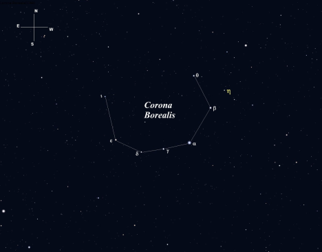 Wedged between Boötes on the west and Hercules on the east, this gracefully curving constellation is one of the few that really resembles its name.  (Stellarium screen image with labels added, click to enlarge).