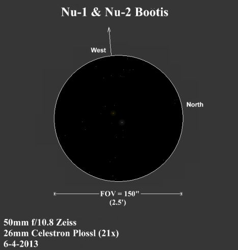 Nu-1 Boö one is left of center and Nu-2 Boö is right of center in this sketch.  (East & west reversed once again to match the refractor view, click to enlarge).