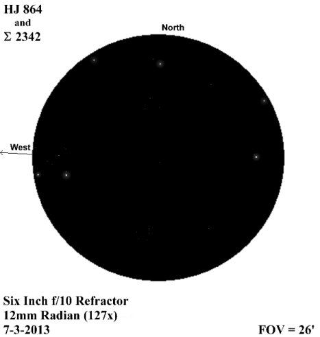 "Σ 2342 is on the west side (left) of this sketch and HJ 864 is opposite at the east edge (right) of this view.  You'll need to enlarge it by clicking on the image in order to see HJ 864's secondary, and especially to get a look at the 12.50 magnitude ""B"" companion of Σ 2342.  ""D"" is faintly absent from the view.  (East & west reversed once more)."