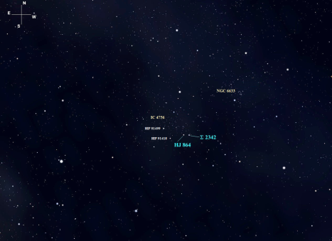 You'll find both Σ 2342 and HJ 864 located at the southwest corner of IC 4756, less than half a degree apart.  6.35 magnitude HIP 91499 and 6.65 magnitude HIP 91418 can be used as reference points to orient the field.
