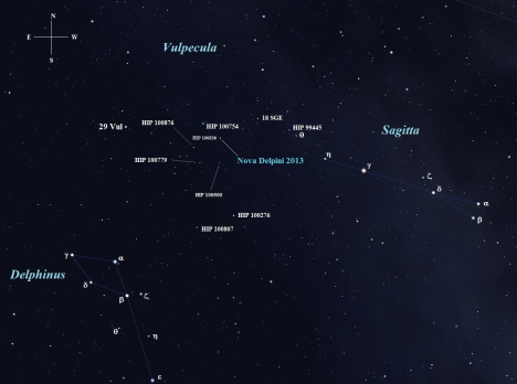 Stellarium screen image with labels added, click to on the chart for a larger view of it.