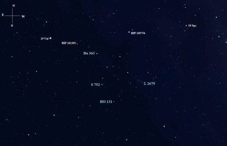 Stellarium screen image (both this and the one above) with labels added, click to enlarge, click on either chart to enlarge it.