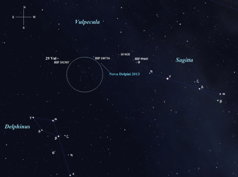 Here's where we're going . . . . . . . (Stellarium screen image with labels added, click on the chart for a larger view).