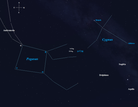 Stellarium screen image with additional labels, click to enlarge the view.