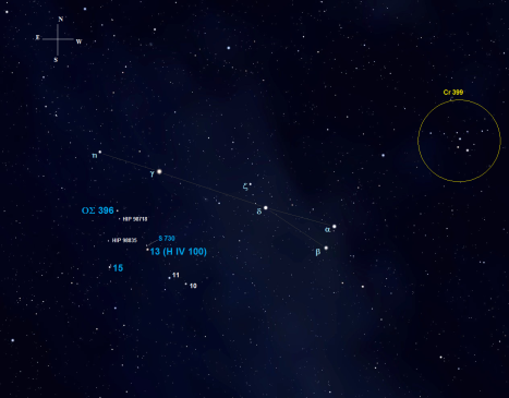 The first star on this tour is located a degree and a half southeast of 3.50 magnitude Gamma (γ) Sagittae.  It also forms a triangle with Gamma (γ) and 5.05 magnitude Eta (η).  (Stellarium screen image with labels added, click on the chart for a larger view).