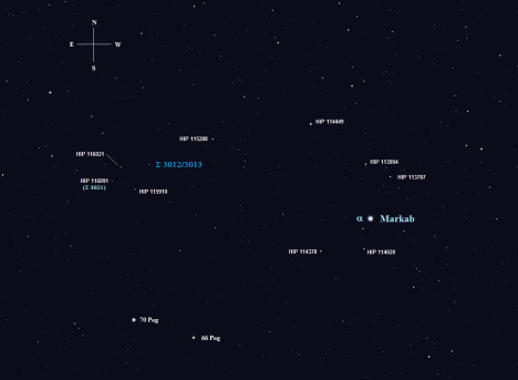 We'll begin at the southwest corner of the Great Square with Σ 3012 and 3013 and use Markab as a base from which to start.  There are two ways to get to where we're going, both of them focused on navigating to 6.65 magnitude HIP 115288.   (Stellarium screen image with labels attached, click on the chart for a larger view).