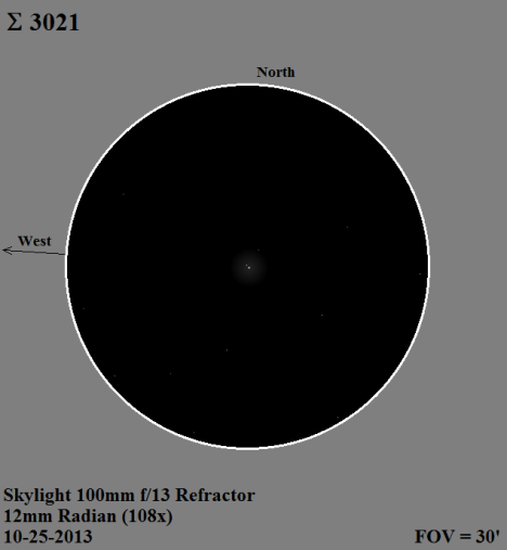 Everything in this field of view was either white or gray except for a slight hint of orange in the secondary, which I also saw a few nights later in a six inch refractor.  The right triangle alignment of the three components of Σ 3021, plus the line of stars running below the primary from northeast to southwest, add a bit of visual spice to the view.   (East & west reversed again, click for a larger image).