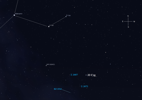 Stellarium screen image, labels added, click to enlarge the chart.