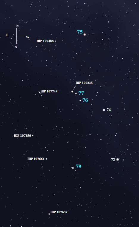(Stellarium screen image with labels added, click on the chart to enlarge it).