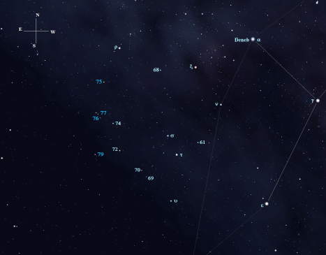 (Stellarium screen image with additional labels, click to enlarge the chart).