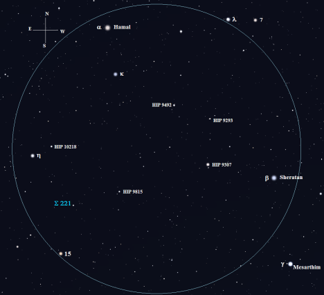 Stellarium screen image with labels added, click on the chart for a larger version.