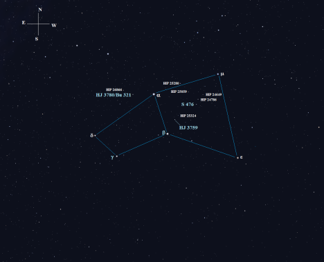 We'll stay close to the box-like wings that form the main body of this constellation in order to avoid getting lost in the host of dim stars surrounding it.  (Stellarium screen image with labels added, click for a larger view).