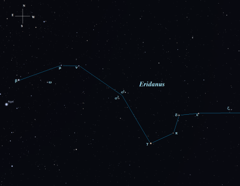 40 Eridani is labeled here as O2 (Omicron-2), along with its seemingly close companion, O1.  In reality, those two stars are nowhere close to each other.   Omicron-2  is located a mere 16.4 light years from us, while Omicron-1, at 125 light years, is seven and half times more distant from planet Earth.  (Stellarium screen image with labels added, click to enlarge the chart).