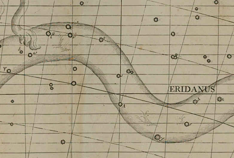 "40 Eridani, aka Omicron-2 Eridani, is shown dead center in this excerpt from Flamsteed's 1753 atlas.  If you look closely, you'll see a ""d"" attached to the right side of it up against the declination line.  Above and to the right of it at about a forty-five degree angle, parked tightly against another star, is Omicron-1 Eridani, which appears to be labeled with a ""b"".  (Click on the image for a larger view – image reproduced from the atlas available at the Atlas Coelestis link above)."