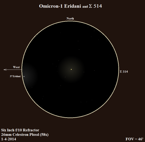Look carefully! Σ 514 is sitting due east a mere 12' from Beid's yellow-white glow, halfway to the edge of the field of view. (East & west reversed once more to match the refractor view, click on the sketch for much better view).