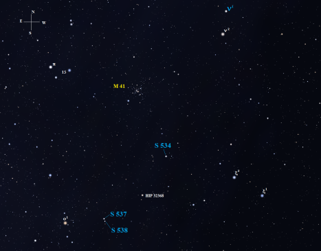 Here's a close-up view of our starry hunting grounds with Omicron-1 (o1) parked down in the bottom left hand corner of the view. A short hop of three degrees due west from Omicron-1 will put both S 537 and S 538 in your field of view. If you have time, don't neglect the ethereal starlight of M41. (Stellarium screen image with labels added, click on the chart for a larger view).