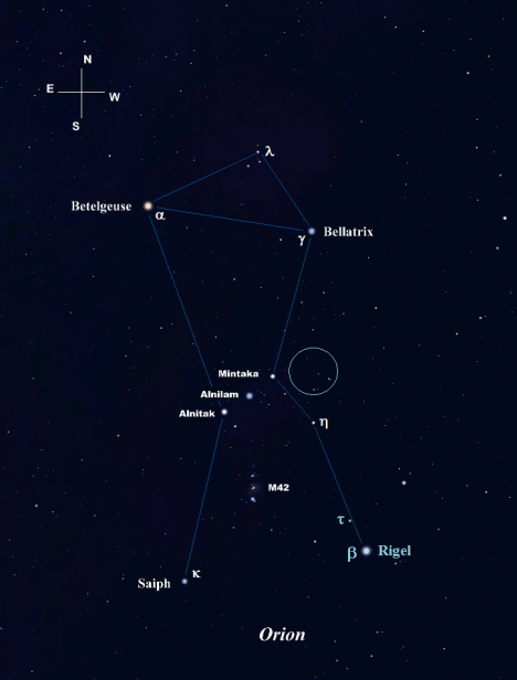 Our Orion Odyssey begins just a few degrees west of Mintaka, also known as Delta (δ) Orionis, in the area within the turquoise circle.   (Stellarium screen image with labels added, click on the chart to enlarge it).