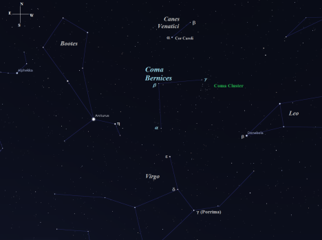 You'll find Coma Bernices wedged between the eastern edge of Leo and western edge of Boötes.   The Coma Cluster sits just south of Gamma (γ) Comae Bernices. (Stellarium screen image with labels added, click for a larger view).