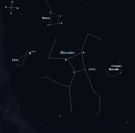 Zeta (ζ) Herculis, the second star we'll look at, is easily found at the southwest corner of the distinctive Hercules Keystone asterism. The star we're in search of now, OΣ 344, is hiding two and a half degrees southeast of Gamma (γ) Draconis. Since it's three and half magnitudes fainter than Zeta (ζ) Herculis, we'll need another chart to locate it. (Stellarium screen image with labels added, click to enlarge).