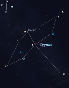 Lambda (λ) and Delta (δ) Cygni are shown in light blue, click to enlarge the chart.
