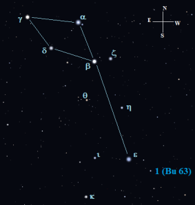 Bu 63 is located just under a degree southwest of Epsilon (ε) Delphini.  Click to enlarge the chart.