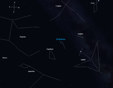 I suppose you could call Delphinus a late summer/early autumn constellation since it's located between Aquila and Pegasus.   It's actually bordered by Equuleus and Sagitta, both of which are small and difficult constellations to locate if you're gazing into light-polluted skies. (Stellarium screen image with labels added, click to enlarge the chart).