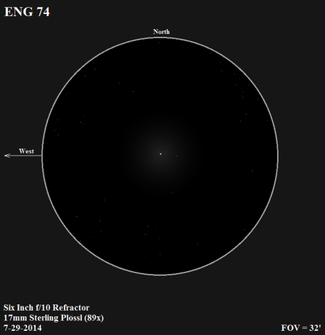 This is a wide and none too bright triple star that fortunately has very little competition, but it has visual appeal thanks to the distinctive alignment of its three stars. At a magnitude of 8.76, I found the primary to be too faint to detect any hint of color. (East & west reversed to match the refractor view, click on the sketch to improve the view).