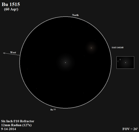 """This is a compact little triple star with a white primary.   The """"B"""" and """"C"""" components are faint enough that you have to look closely to catch your first glimpse of them, but once you have them in view, they willingly stay within visual grasp. (East & west reversed, click on the sketch for an improved view)."""