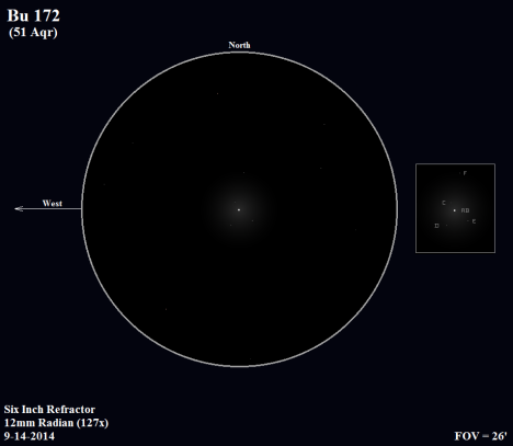 """5.77 magnitude AB sits in the center of its retinue of four stellar attendants, casting the spell of its white light over """"C"""" and just barely falling short of """"D"""" and """"E"""". Lying over four arc minutes to the north, """"F"""" fails to live up to its 8.50 magnitude reputation.   (East & west reversed once more, click on the sketch for a much improved version)."""