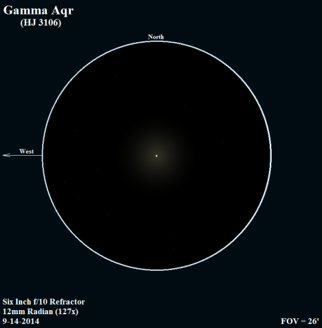 You gotta look close, but there really is a secondary just below the primary at the 150 degree position – not that I saw it on the first look at this star. There's a slight touch of yellow in the primary, which showed up despite the moon's insistent 40% glare.   (East & west reversed once more, click on the sketch to see the secondary better).